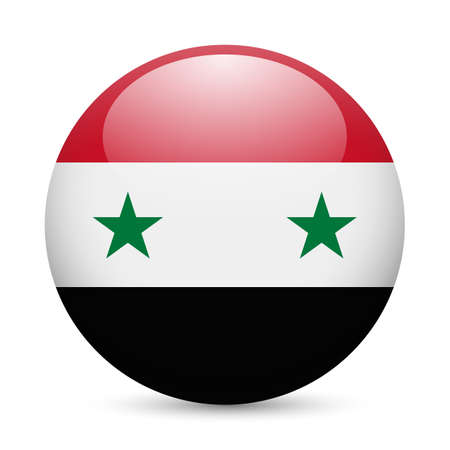 Flag of Syria as round glossy icon. Button with Syrian flag Vector