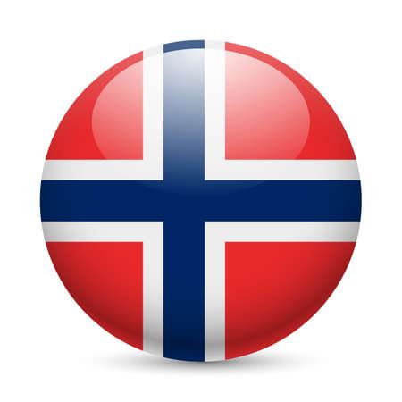 ラウンドの光沢のあるアイコンとしてノルウェーの旗。ノルウェーの旗を持つボタン  イラスト・ベクター素材