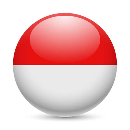 Flag of Indonesia as round glossy icon. Button with Indonesian flag Illustration