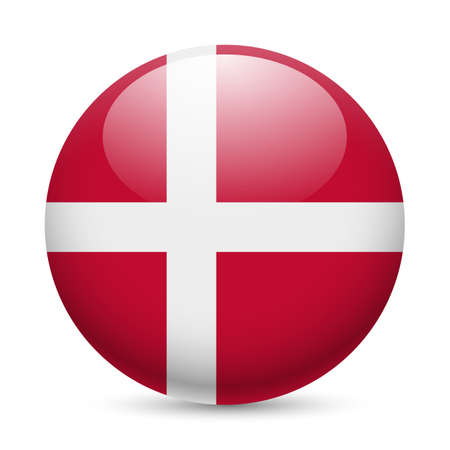 Flag of Denmark as round glossy icon. Button with Danish flag Иллюстрация
