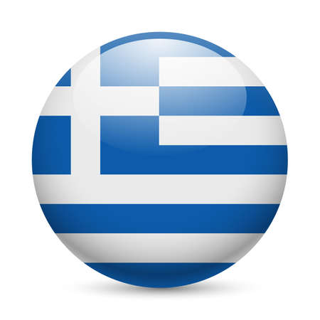greece flag: Flag of Greece as round glossy icon. Button with Greek flag