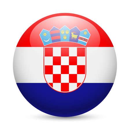 bandera de croacia: Bandera de Croacia como redonda icono brillante. Botón con la bandera de Croacia