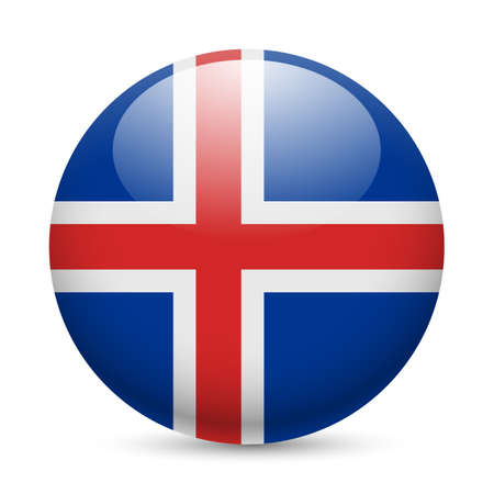 the icelandic flag: Flag of Iceland as round glossy icon. Button with Icelandic flag Illustration