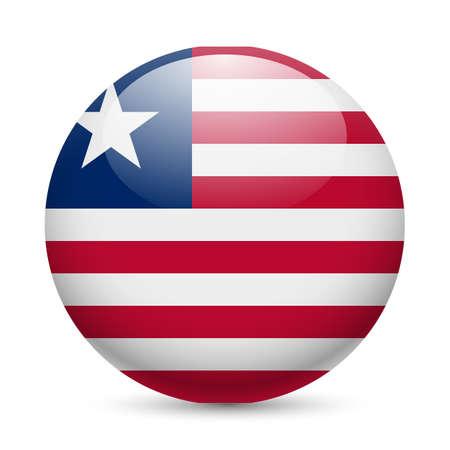 liberia: Flag of Liberia as round glossy icon. Button with Liberian flag Illustration