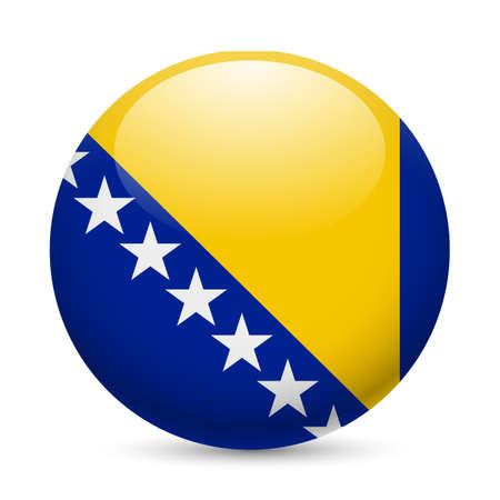 bosnia: Flag of Bosnia and Herzegovina as round glossy icon. Button with flag colors