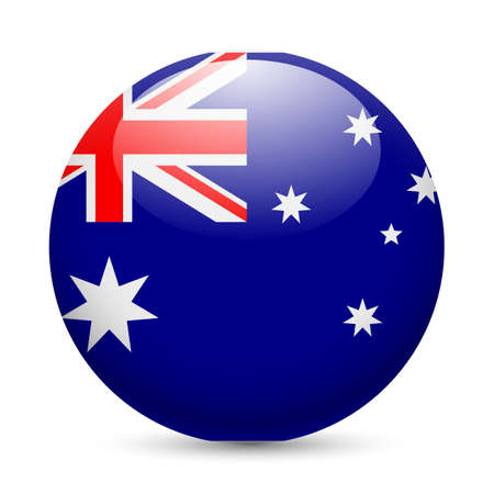 blue button: Flag of Australia as round glossy icon. Button with Australian flag