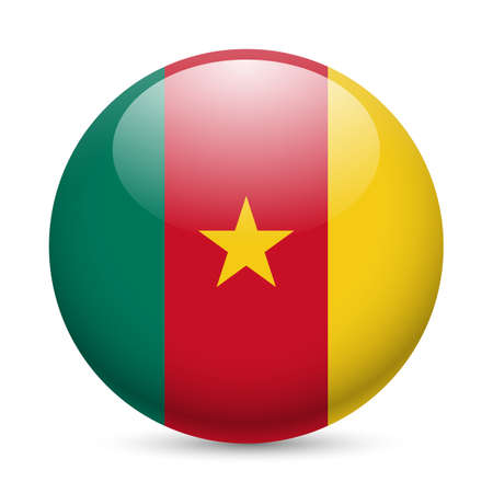 cameroonian: Flag of Cameroon as round glossy icon. Button with Cameroonian flag Illustration