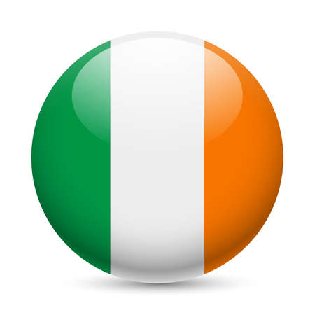 irish pride: Flag of Ireland as round glossy icon. Button with Irish flag