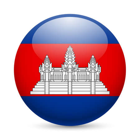 cambodian flag: Flag of Cambodia as round glossy icon. Button with Cambodian flag