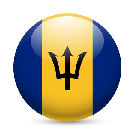 barbadian: Flag of Barbados as round glossy icon. Button with Barbadian flag