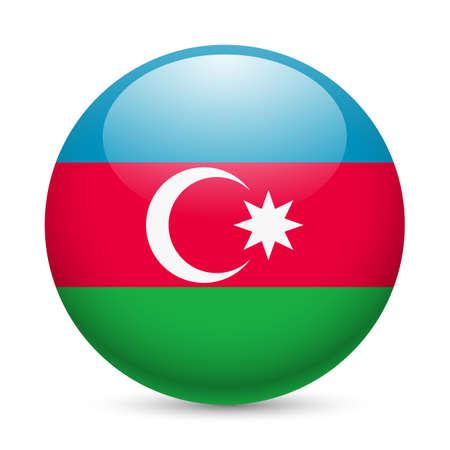 azerbaijanian: Flag of Azerbaijan as round glossy icon. Button with Azerbaijanian flag