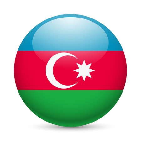 azerbaijan: Flag of Azerbaijan as round glossy icon. Button with Azerbaijanian flag