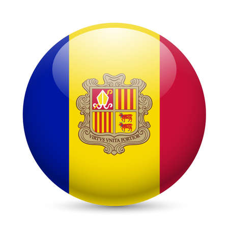 Flag of Andorra as round glossy icon. Button with Andorran flag Vector
