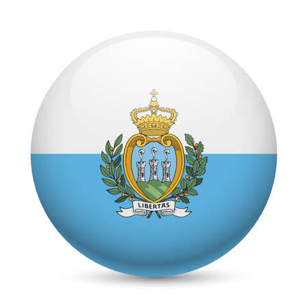 Flag of San Marino as round glossy icon. Button with flag colors Vector