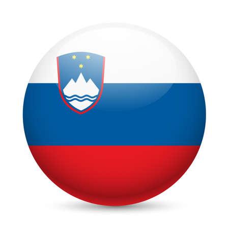 slovenia: Flag of Slovenia as round glossy icon. Button with Slovene flag