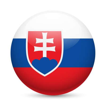 Bandera de Eslovaquia como redonda icono brillante. Botón con la bandera de Eslovaquia