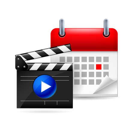 movie clapper: Calendar pagina con un red-letter giorno segnato della settimana. Vicino al film batacchio Vettoriali