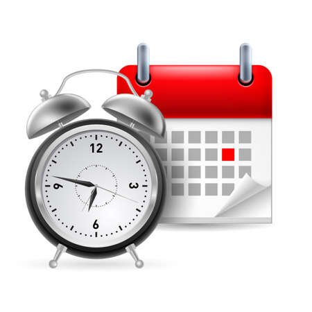 marked: Page calendar with a marked red-letter day of the week. Near to clock