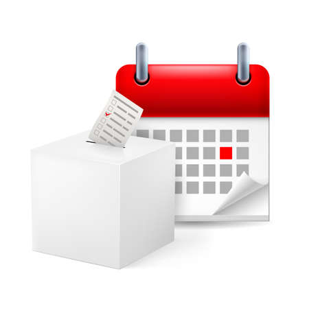 event organizer: Page calendar with a marked red-letter day of the week. Near to ballot