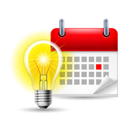 annual events: Page calendar with a marked red-letter day of the week. Near to lightbulb