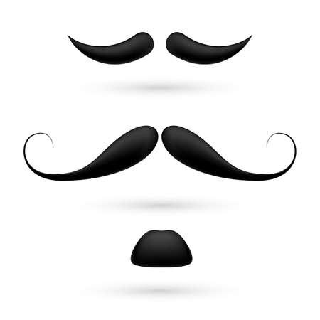 bigote: Un conjunto de tres bigote negro en blanco.