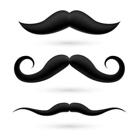 burly: A set of three black wax moustache on white. Illustration