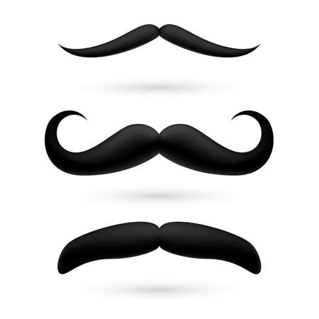 A set of black wax moustache on white. Vector