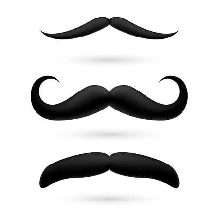 A set of black wax moustache on white. Illustration