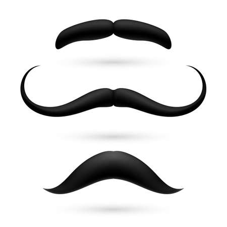 A set of three black wax mustache on white. Vector