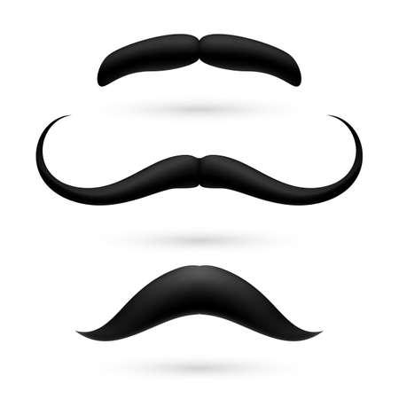 burly: A set of three black wax mustache on white.