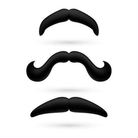 droopy: A set of black stylish moustache on white.
