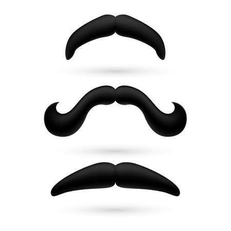 A set of black stylish moustache on white.
