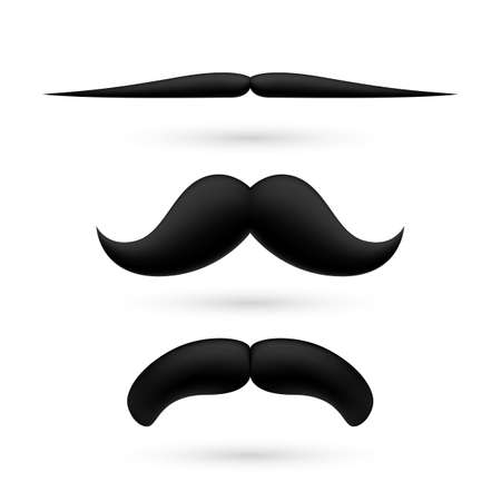 A set of three black wax moustache on white background. Stock Vector - 29200585