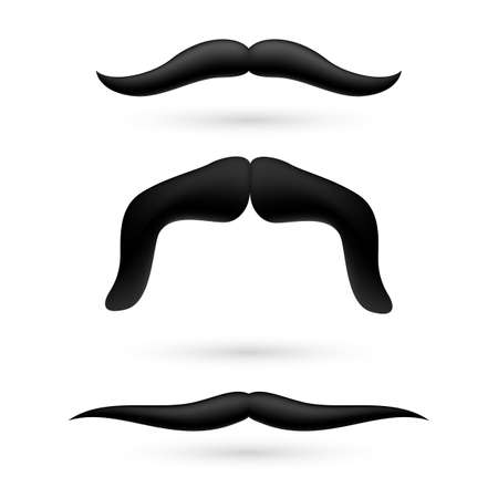 A set of black wax moustache on white background.