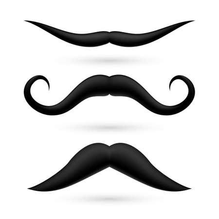 A set of three fake moustache on white background.