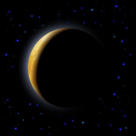 partial: Eclipse parcial de Luna en el espacio Vectores