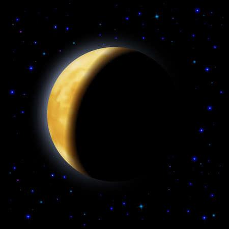 partial: Eclipse parcial de Luna en el lado derecho del espacio sombras Vectores