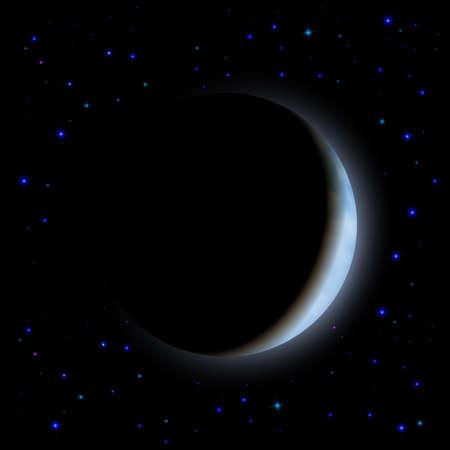 partial: Eclipse parcial de Luna en el lado del espacio dejado sombra
