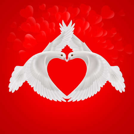 2 objects: Two white doves the shape of the wings of the red heart