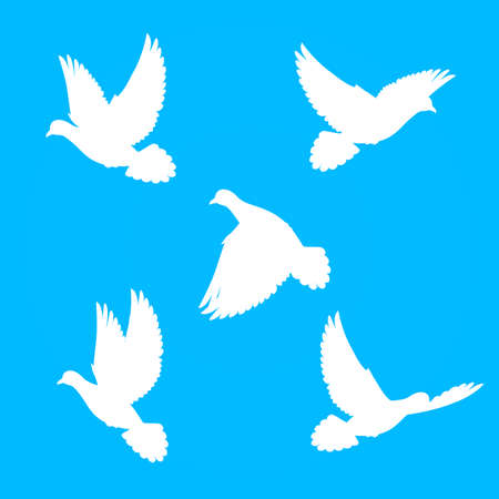 allegory painting: Five silhouette  doves fly in  blue sky