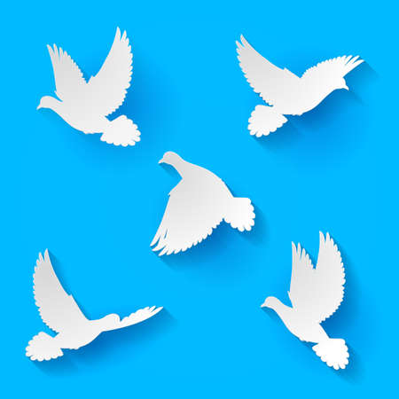 allegory painting: Five silhouette white doves fly in  blue sky