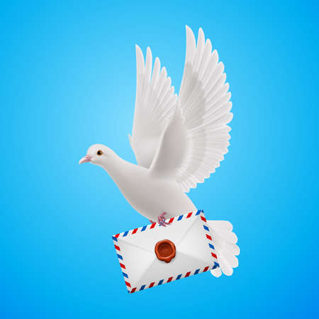 Pigeon fly with mail in  blue sky Vector