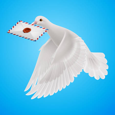 mailer: Carrier fly with mail in  blue sky Illustration