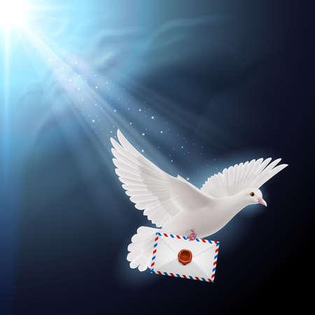 beak: Pigeon flying with letters in beak on sunlight Illustration