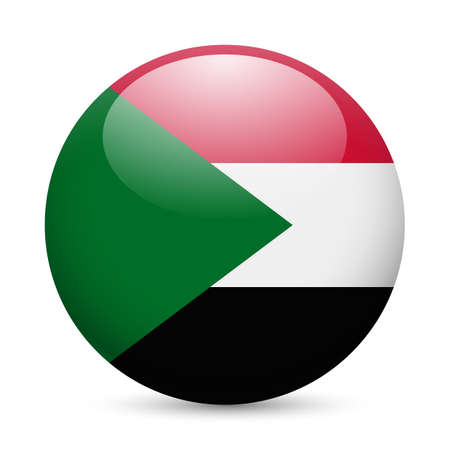 sudan: Flag of Sudan as round glossy icon. Button with Sudanese flag Illustration