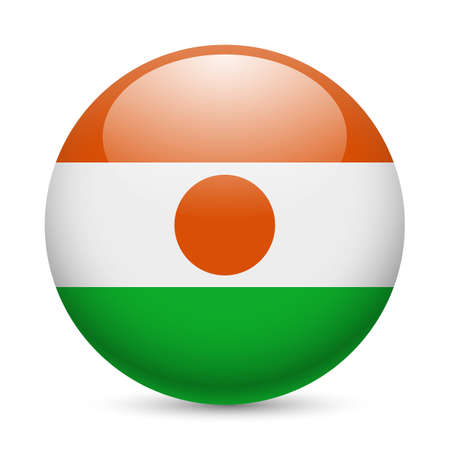 niger: Flag of Niger as round glossy icon. Button with Nigerien flag