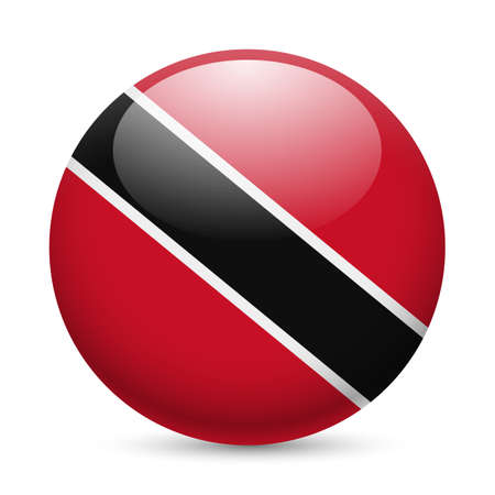 trinidad: Flag of Trinidad and Tobago as round glossy icon. Button with flag colors