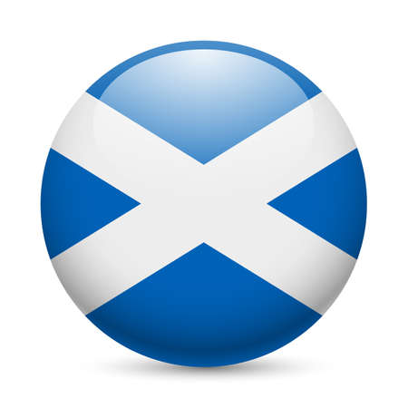 Flag of Scotland as round glossy icon. Button with Scottish flag
