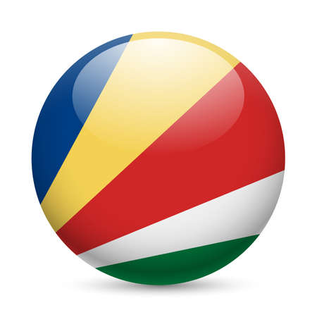 seychelles: Flag of Seychelles as round glossy icon. Button with flag colors