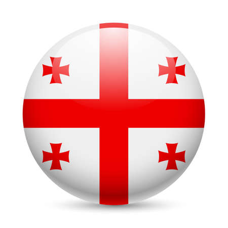 georgia flag: Flag of Georgia as round glossy icon. Button with Georgian flag Illustration